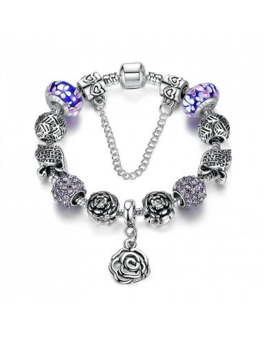 Bratara placata cu argint tip Pandora, sticla Murano cu lebede si flori