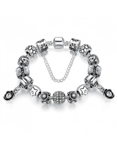 Bratara placata cu argint tip Pandora, flori cu cristale, ancore si stelute