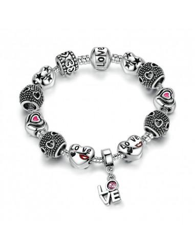 Bratara placata cu argint tip Pandora, LOVE cu inimioare si cristale roz