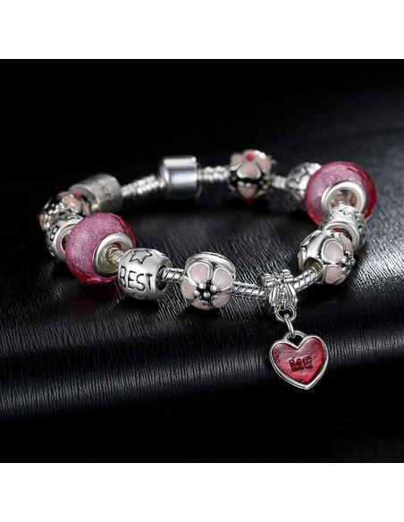 Bratara tip Pandora cu margele de Murano, flori si Love Me