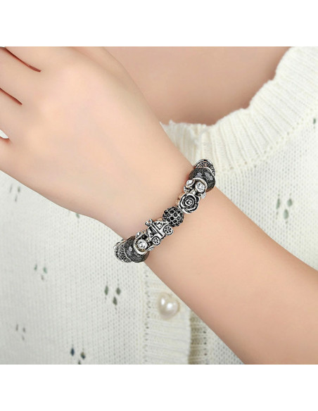 Bratara placata cu argint tip Pandora, cristale gri, carusel si bradut