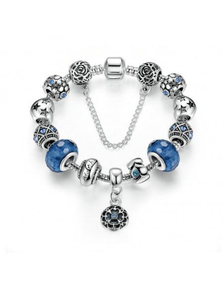Bratara tip Pandora placata cu argint, margele Murano albastre si floare