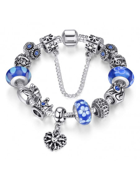 Bratara tip Pandora cu sticla de Murano si inimioara, flori si coroana