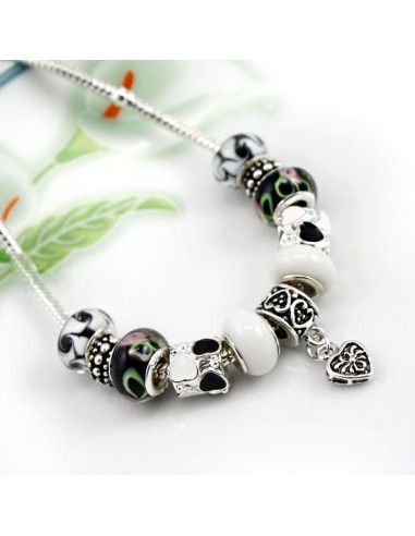 Colier placat cu argint tip Pandora, margele de Murano si inimioare