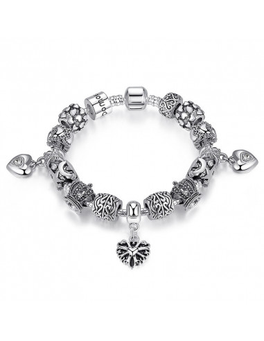 Bratara tip Pandora, inimioare, stelute, semiluni si coroane cu cristale