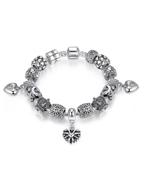 Bratara tip Pandora placata cu argint, inimioare si coroana regala