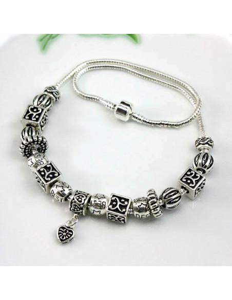 Colier placat cu argint tip Pandora, cuburi, stelute si inimioara