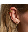 Cercel tip ear cuff, model cu lantisor subtire si tep in lobul urechii, prindere pe ureche
