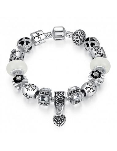 Bratara tip Pandora placata cu argint, inimioare, fluturi si cristale