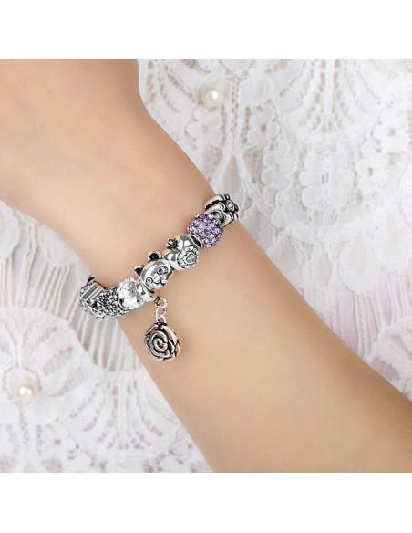 Bratara placata cu argint tip Pandora, floare, palmier si ursulet