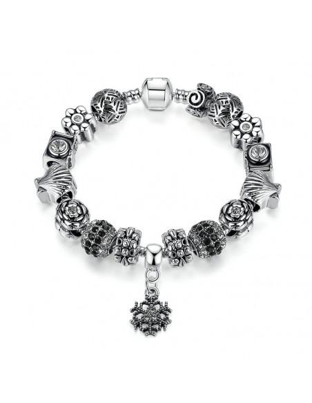 Bratara tip Pandora placata cu argint, fulg de nea, scoici si cristale