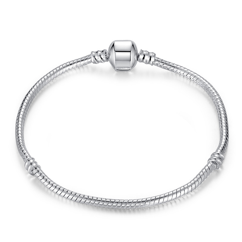 Bratara tip Pandora placata cu argint, snur simplu