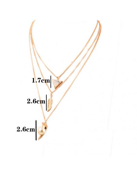 Colier multichain triplu, cu pana, triunghi alb si colt cu perla