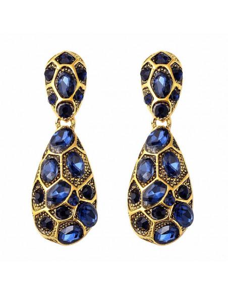 Cercei statement auriu vintage, Tortoise cu cristale albastru inchis