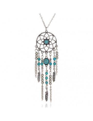 Colier de inspiratie etnica, medalion Dreamcatcher cu margele turcoaz