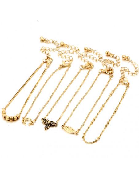 Set 5 bratari subtiri aurii, cu frunza, elefant si potcoave