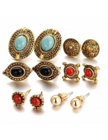Set 6 cercei aurii vintage ovali, cu pietre albastre, rosii si negre