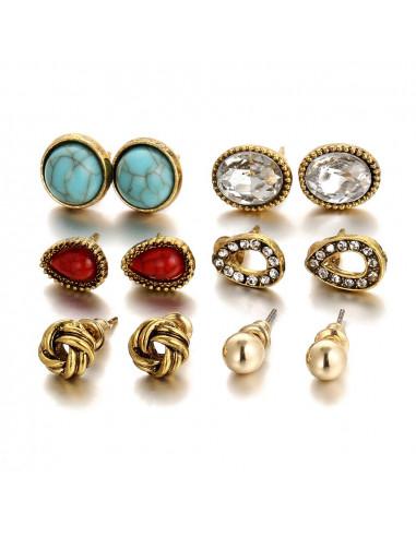 Set 6 cercei aurii vintage mici, cu pietre albe, rosii si negre