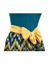 Rochie scurta, cu top din voal plisat, fusta creata din dantela, si panglica de matase