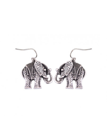Cercei argintii indieni, model etnic cu elefanti stantati