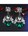 Cercei statement eleganti, cu cristale albe, verzi si multicolore