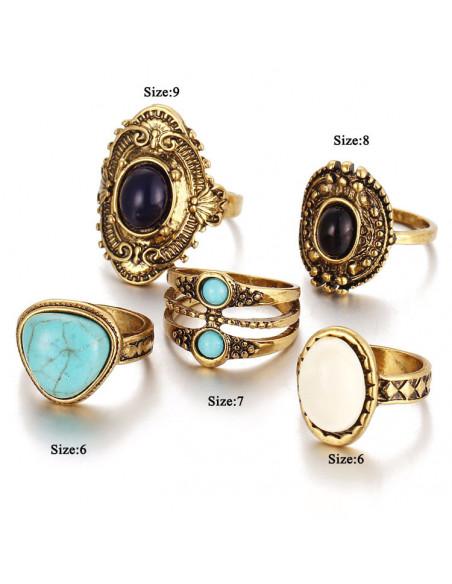 Set cinci inele vintage, cu pietre albe, negre si turcoaz