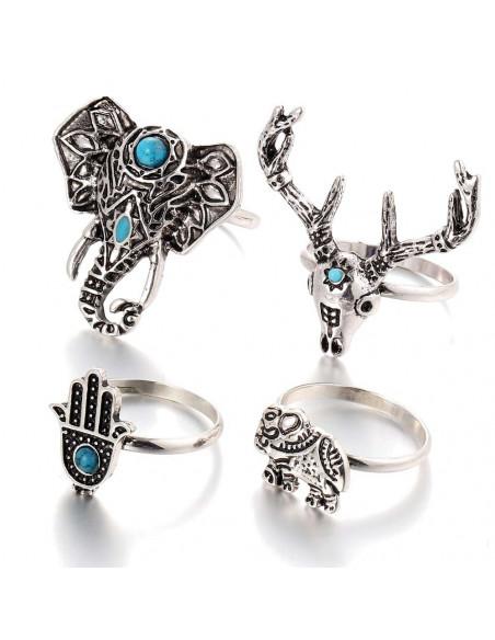 Set 4 inele midi argintii, cu elefant, cerb si Hamsa