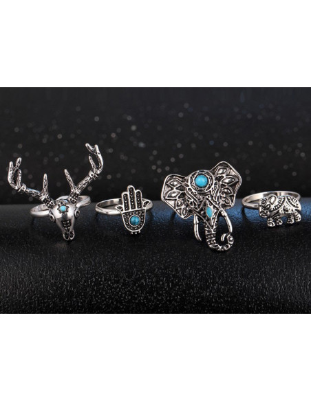 Set 4 inele argintii, cu motive indiene si pietre turcoaz