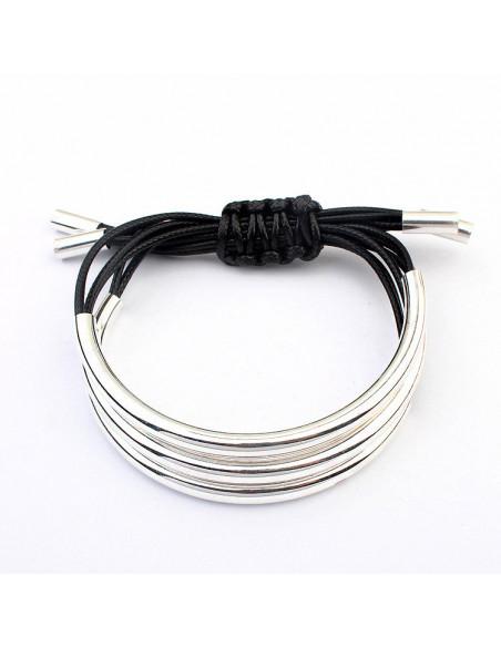 Bratara eleganta din snururi si 3 tuburi subtiri semicirculare