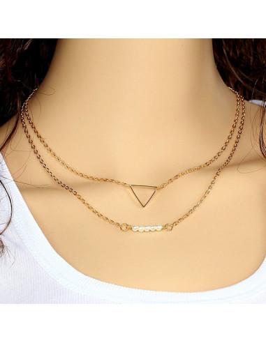 Colier multilayer dublu, lantisoare cu triunghi si perle albe