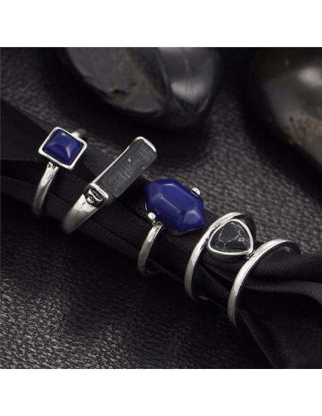 Set 4 inele vintage argintii cu pietre negre si albastre