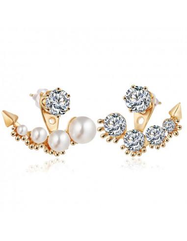 Cercei eleganti aurii asimetrici, cu cristale si perle albe