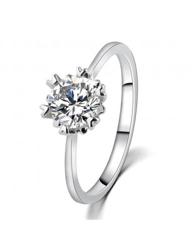 Inel de logodna elegant, argintiu cu cristal