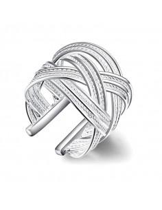 Inel elegant, placat cu argint, model lat impletit