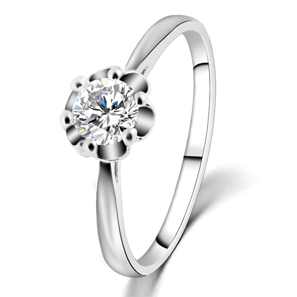 Inel de logodna delicat, placat cu argint, cu cristal rotund