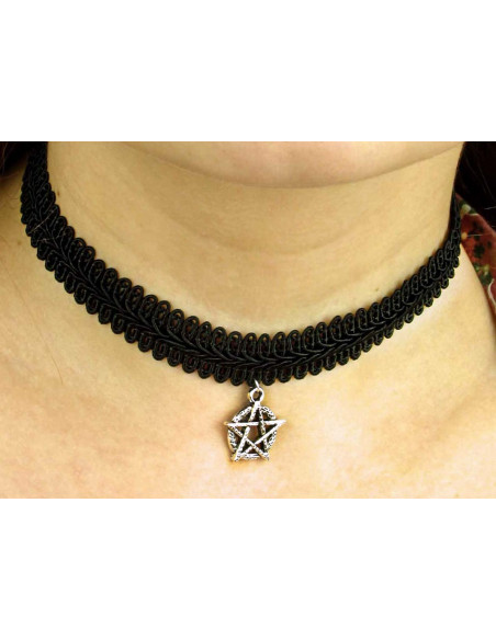 Colier choker din dantela ingusta, cu medalion Pentagrama