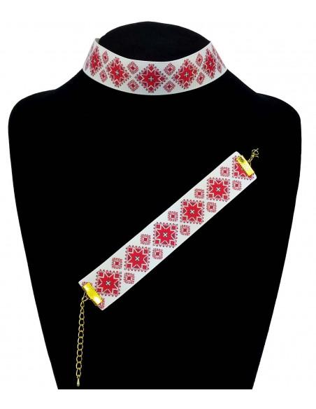 Set colier choker si bratara colorate, model traditional rosu