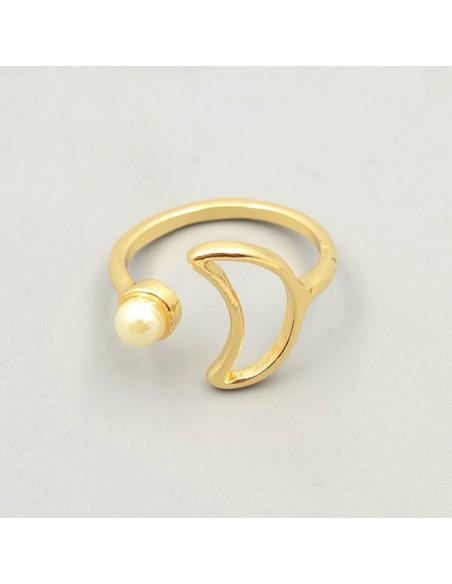 Inel elegant cu perle si cristale, model cu semiluna