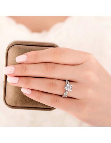 Inel elegant de logodna, cu cristale, Floating Diamond