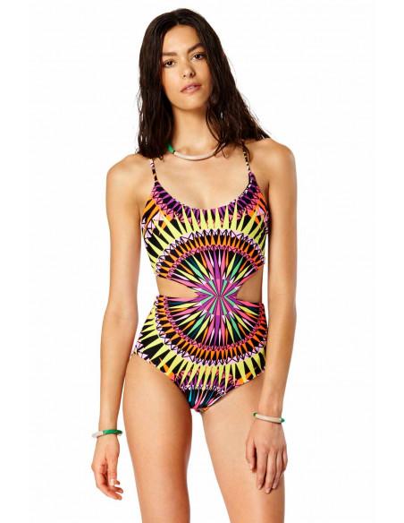 Costum de baie intreg cu imprimeu multicolor caleidoscop