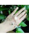 Bratara aurie pentru palma, cu frunze si cristale