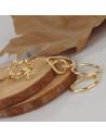 Set 4 inele aurii midi subtiri, cu frunze si inimioara