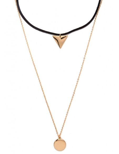 Set coliere boho din piele intoarsa si lant, cu triunghi si disc