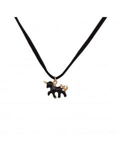Colier choker din piele intoarsa neagra, cu medalion unicorn auriu