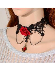 Colier choker din dantela neagra, floare mare rosie si medalion cu cristal