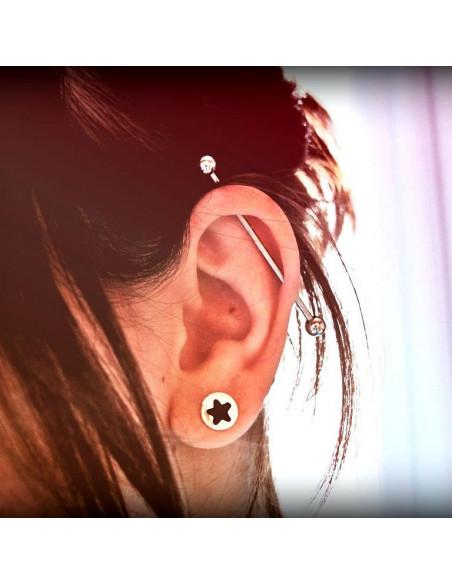 Piercing industrial lung, din otel, pentru cartilajul urechii