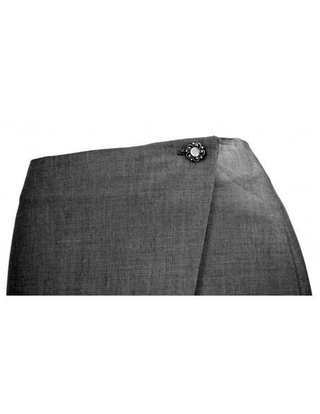 Fusta office pana la genunchi, din stofa de lana, subtire si lucioasa