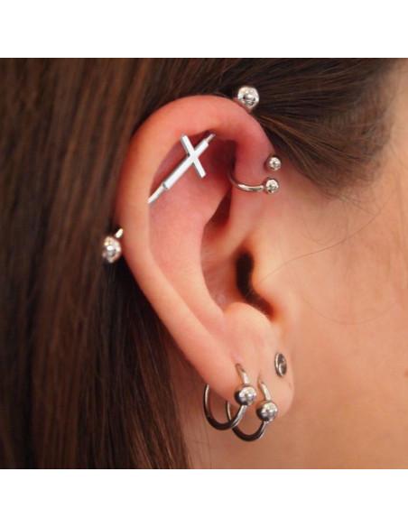 Piercing industrial cu cruce, din otel, pentru cartilajul urechii