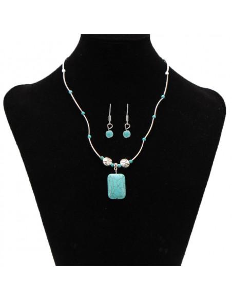 Set etnic argintiu, colier si cercei cu medalion dreptunghiular turcoaz