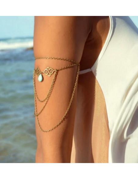Bratara pentru biceps, model arabesc cu medalioane si piatra turcoaz
